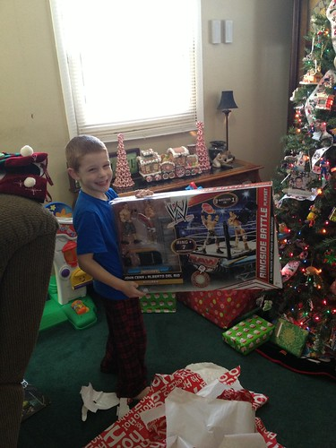 Santa brought a WWE ring!