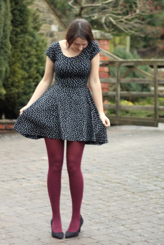 Starry Chicwish dress, burgundy tights, ASOS black heels