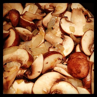 Caramelized onions and mushrooms will be tossed with barley tonight.  #ELB #healthyliving