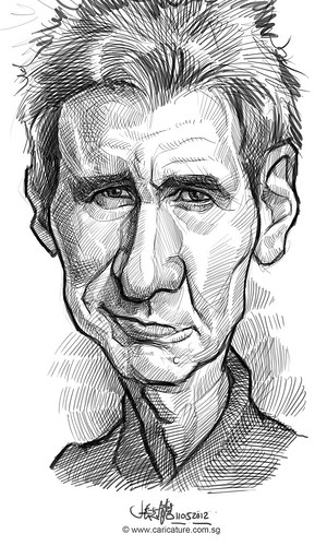 digital caricature sketch of Harrison Ford