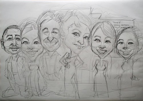 group caricatures for Vacheron Constantin - pencil sketch