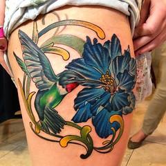 hummingbird and larkspur flower custom tattoo tattoooftheday www. Black Bedroom Furniture Sets. Home Design Ideas