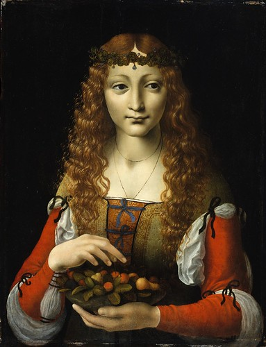 Attributed to Giovanni Ambrogio de Predis - Girl with Cherries [c.1491-95] by Gandalf's Gallery