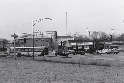 The intersection of West 87th Street and South Kedzie Avenue.  Evergreen Park Illinois.  March 1989. by Eddie from Chicago