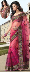 Pink and Wine Net Saree