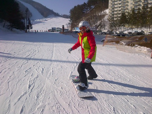 Snowboarding in Yong Pyong, South Korea