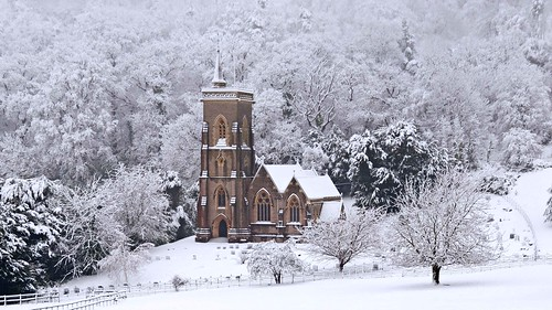 West Quantoxhead - St Etheldreda's Church in the snow - 23rd January 2013 by David Cronin