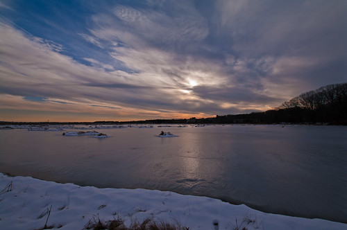 sunset sky snow ice clouds reflections day maine scenic newengland wellsme pwwinter