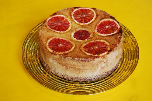 taartje met bloedsinaasappel en amandelen