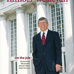 9 -- This cover introduced Richard F. Wilson, who had just been selected as IWU's new president. The stately Hansen Student Center provided an appropriate background, but photographer Mark Romine needed him higher in the frame. Before I could even finish my rambling request, our University's chief executive hopped up on a narrow brick wall to give us this great shot.