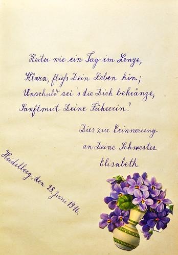 Poesiealbum 1916 Klara Heiter wie ein Tag im Lenze