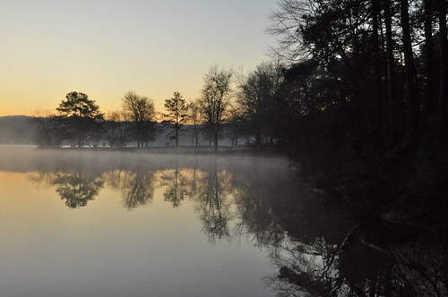 lake cold fog sunrise dawn moisture