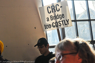 Anti CRC sign at town hall meeting