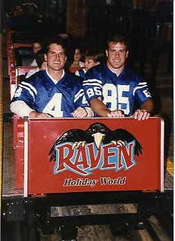 Jim Harbaugh and Ken Dilger riding The Raven in 1996