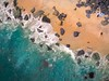 Beach goers go almost undetected in this Kite Aerial photograph of water, sand and rocks in Sandy Hook, New Jersey #drones, #dronestagram, #instagood, #kap, #notadrone, #oldschool, #photooftheday, #picoftheday, #summer, #aerial,#kite,#kap,#nofilter