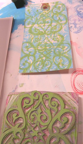 Stamped Turquoise and Green Tags