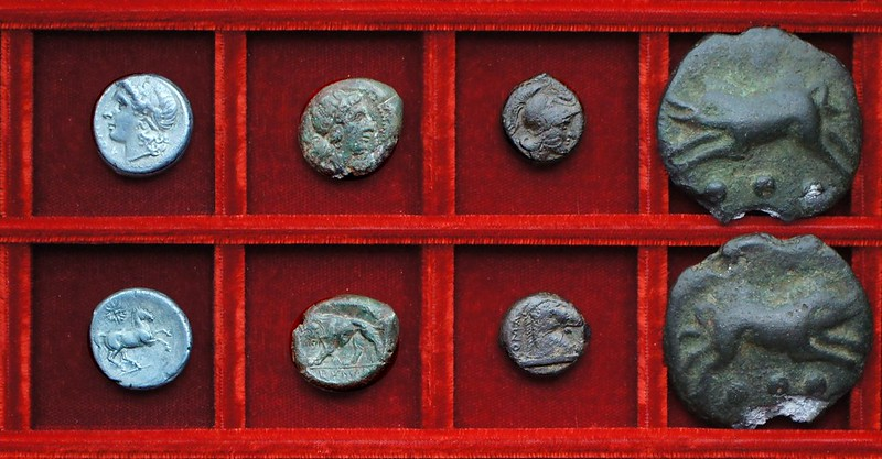 RRC 15 Apollo Horse didrachm, RRC 16 Goddess Lion, RRC 16 Mars horsehead, RRC 18 Aes Grave sextans, Ahala collection, coins of the Roman Republic