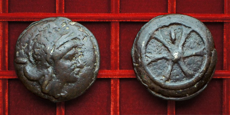 RRC 24 Roma wheel Aes Grave As, Ahala collection, coins of the Roman Republic
