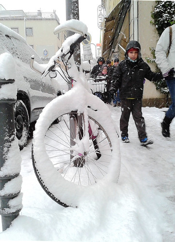 Boy and Frozen Bike