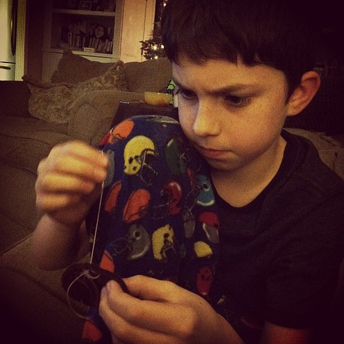 "My boy wanted to learn to sew...""sew"" we did. ;)"