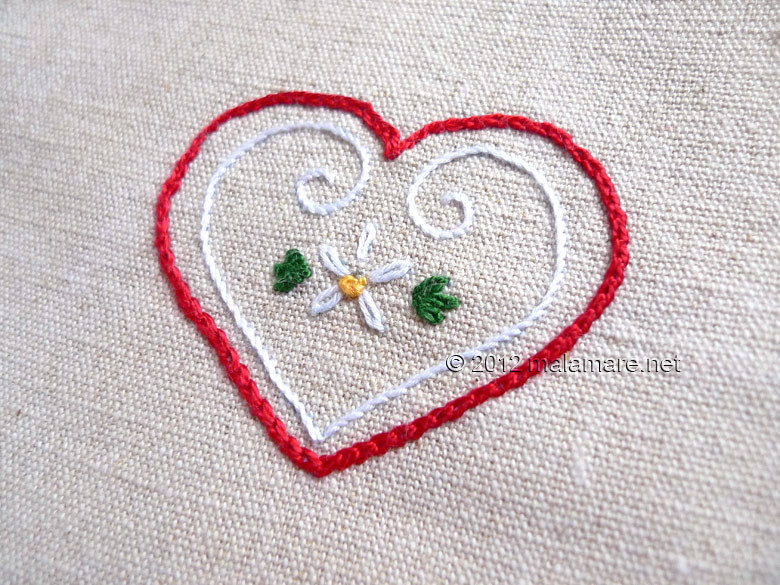 Heart embroidery pattern french knot, lazy daisy, stem and chain stitch