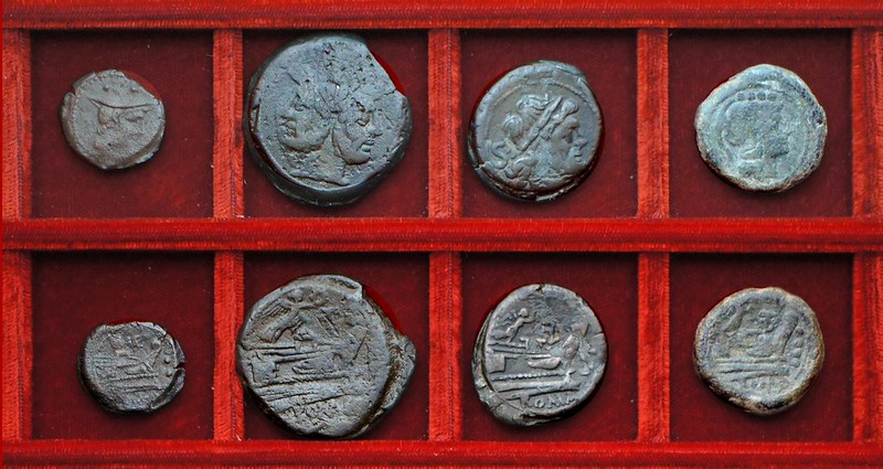 RRC 143 shield and MAE Maenia sextans, RRC 144 Victory and LPF Furia bronzes, Ahala collection, coins of the Roman Republic