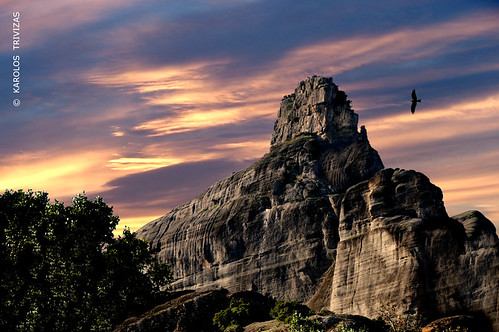 sunset cliff bird rock stone clouds flying eagle hawk peak greece raptor summit monolith avian steep meteora thessaly digitalcameraclub blinkagain bestofblinkwinners