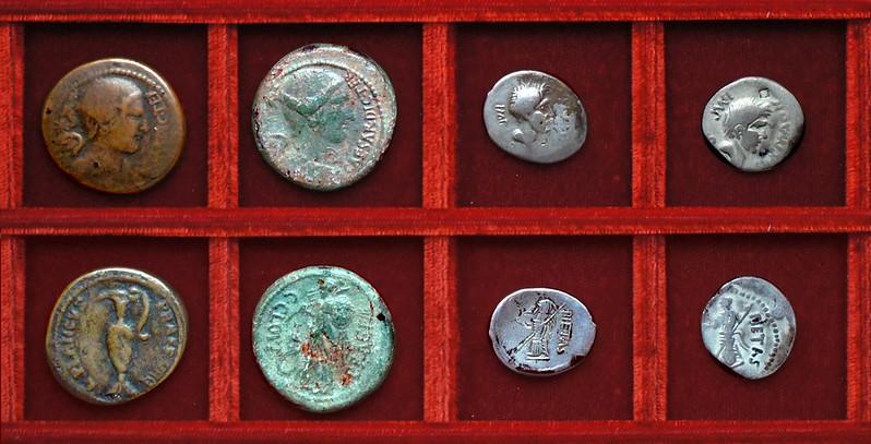 RRC 475 L.PLANC C.CAES 19th.c.forgery, RRC 476 CAESAR C.CLOVI Julius Caesar Clovia, RRC 477 SEX MAGNVS IMP PIETAS Sextus Pompey, Ahala collection Roman Republic