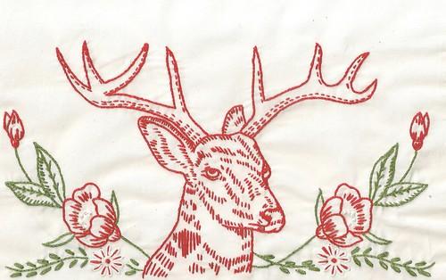 Redwork Reindeer