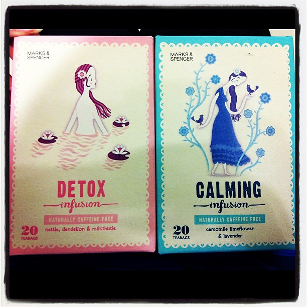 Bought these adorable teas to try. I wonder how would lavender and dandelion teas taste like? #marksandspencer #detox #lavender #camomile #foodporn #dandelion #tea #infusion