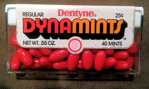 Dentyne - Dynamints - full, unopened 25-cent container package - early 1970's