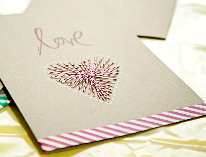 Postal Navidad corazón bordado  6