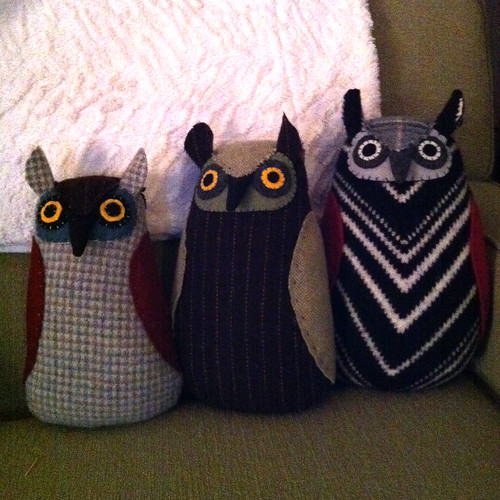 hand sewn stuffed wool owls