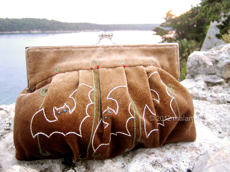 Brown velvet clutch bag with bat hand embroidery and purse frame
