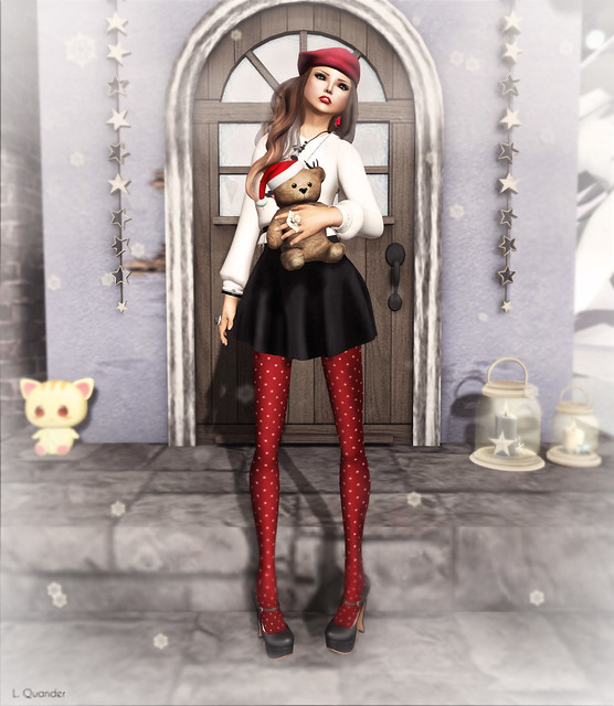 The Secret Store - Christmas Sweater - Oh Deer/White & Crepe Skater Skirt - Charcoal