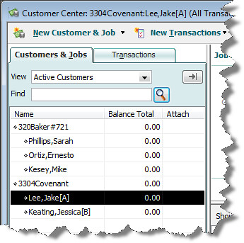 quickbooks tenant as customer or job