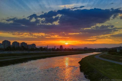 city blue sunset shadow sky sun reflection beautiful yellow clouds photography golden photo ray magic macedonia hour nenad hdr sunray skopje bogoevski