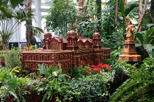 Ellis Island and Statue of Liberty replicas at the New York Botanical Gardens Holiday Train Show