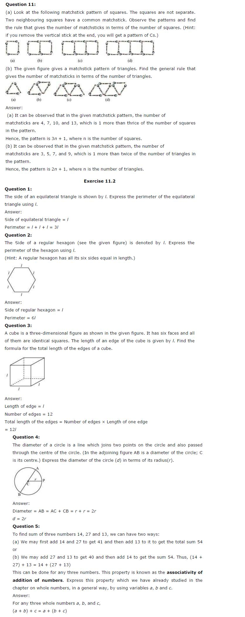 NCERT Solutions For Class 6 Maths Chapter 11 Algebra PDF
