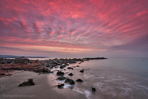 morning sea black nature water clouds sunrise landscape coast rocks colorful seascapes dramatic bulgaria