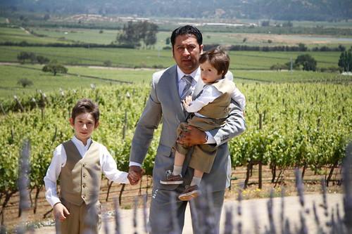 el novio con sus hijos