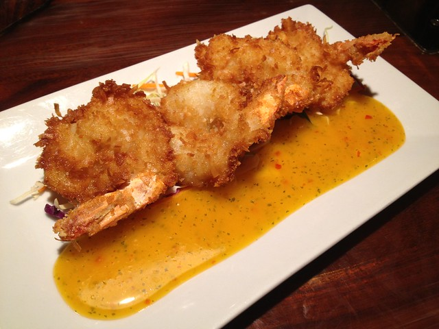 Crispy coconut crusted black tiger shrimp - Duke's Waikiki