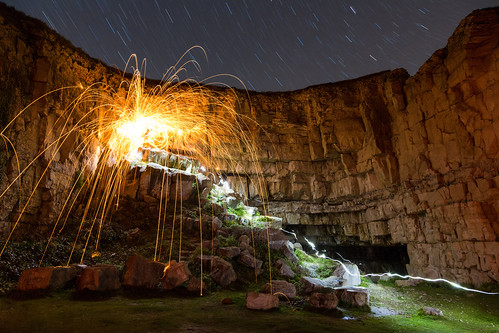 Trajectory (Wire Wool Spinning & Star Trails), Jurassic Coast by flatworldsedge