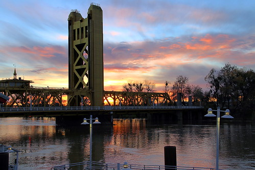 california bridge sunset tower clouds river downtown american sacramento northern