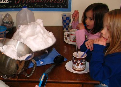 making snow ice cream
