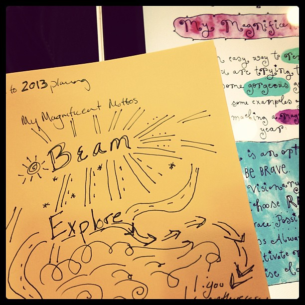 Beam. Explore. The words of 2013. (So far. Life tends to show up with her own ideas.) cc: @leonie_dawson
