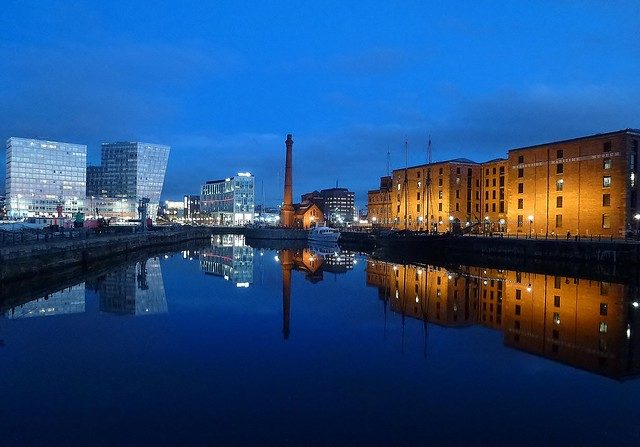 Albert Dock and Canning Half Tide Dock Liverpool, at dusk today.