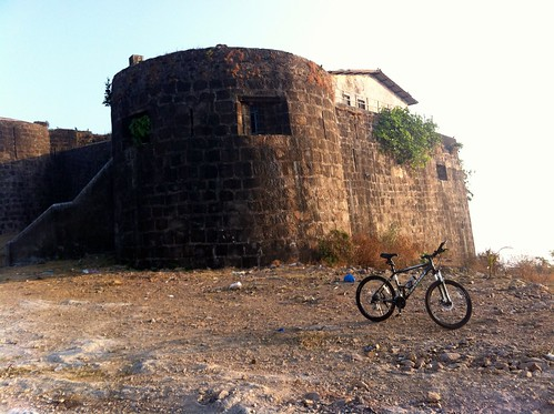 Cycle resting near Madh Fort