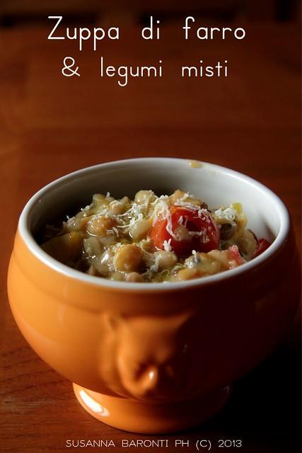 zuppa di farro e legumi misti