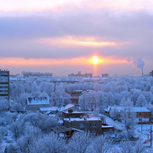 morning winter snow sunrise belarus minsk